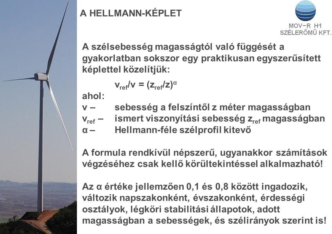 A HELLMANN-KÉPLET A szélsebesség magasságtól való függését a gyakorlatban sokszor egy praktikusan egyszerűsített képlettel közelítjük: v ref /v = (z ref /z) α ahol: v – sebesség a felszíntől z méter magasságban v ref –ismert viszonyítási sebesség z ref magasságban α –Hellmann-féle szélprofil kitevő A formula rendkívül népszerű, ugyanakkor számítások végzéséhez csak kellő körültekintéssel alkalmazható.