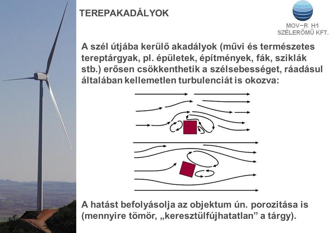 TEREPAKADÁLYOK A szél útjába kerülő akadályok (művi és természetes tereptárgyak, pl.