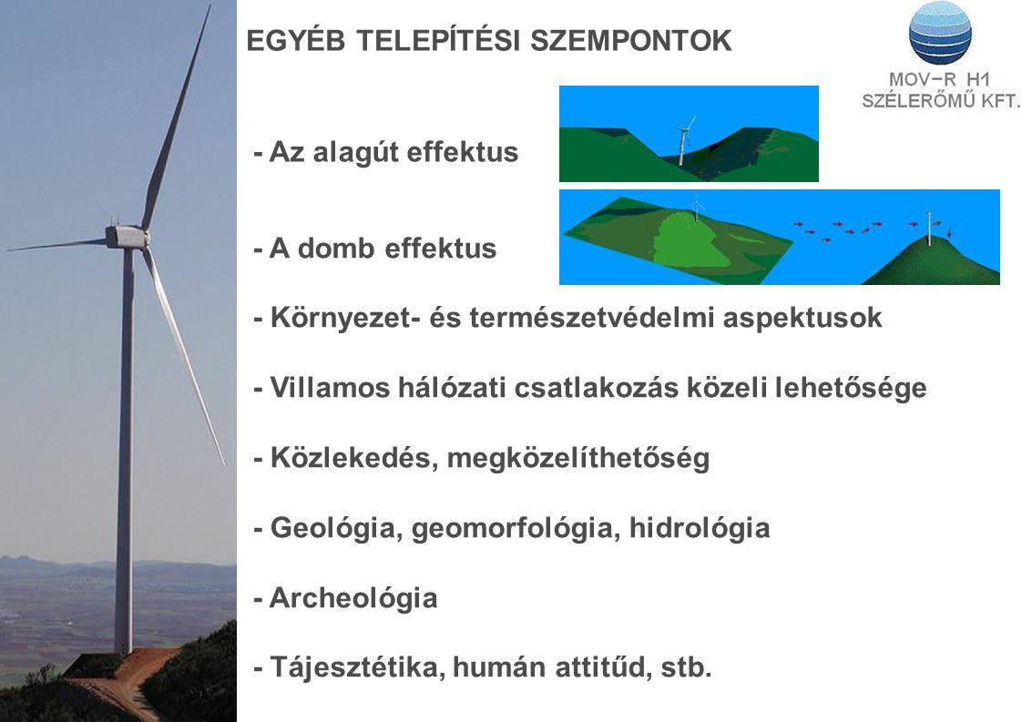 EGYÉB TELEPÍTÉSI SZEMPONTOK - Az alagút effektus - A domb effektus - Környezet- és természetvédelmi aspektusok - Villamos hálózati csatlakozás közeli lehetősége - Közlekedés, megközelíthetőség - Geológia, geomorfológia, hidrológia - Archeológia - Tájesztétika, humán attitűd, stb.