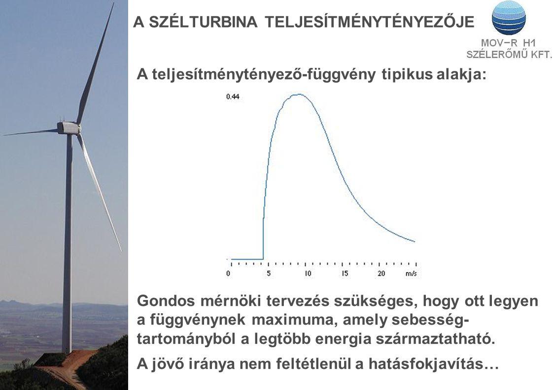 A SZÉLTURBINA TELJESÍTMÉNYTÉNYEZŐJE A teljesítménytényező-függvény tipikus alakja: Gondos mérnöki tervezés szükséges, hogy ott legyen a függvénynek maximuma, amely sebesség- tartományból a legtöbb energia származtatható.
