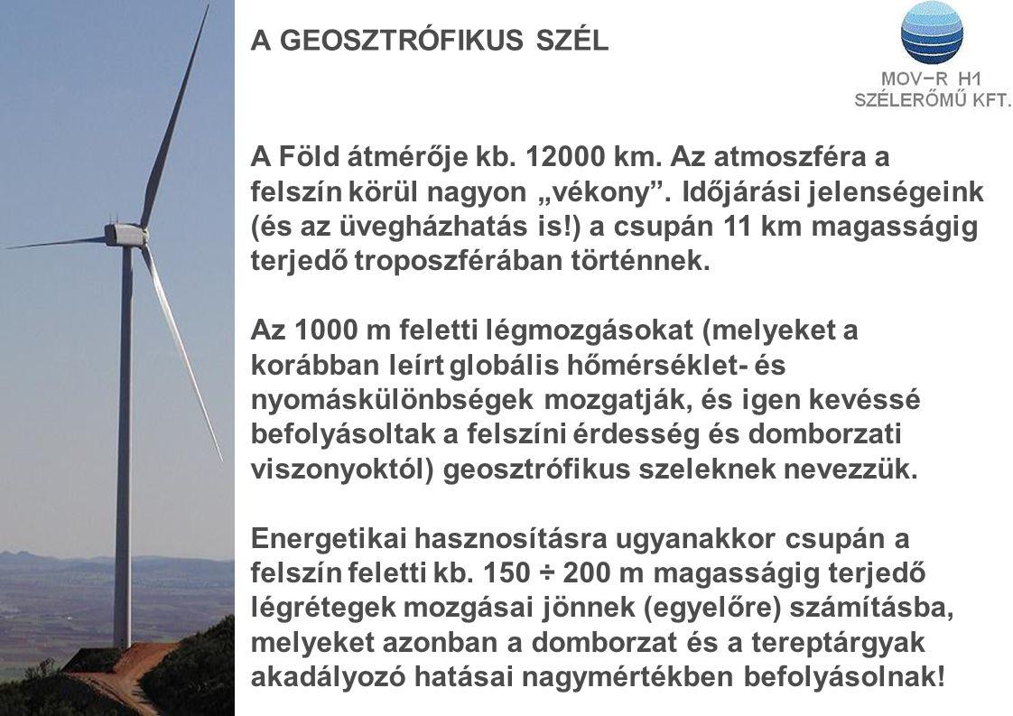 A GEOSZTRÓFIKUS SZÉL A Föld átmérője kb.12000 km.