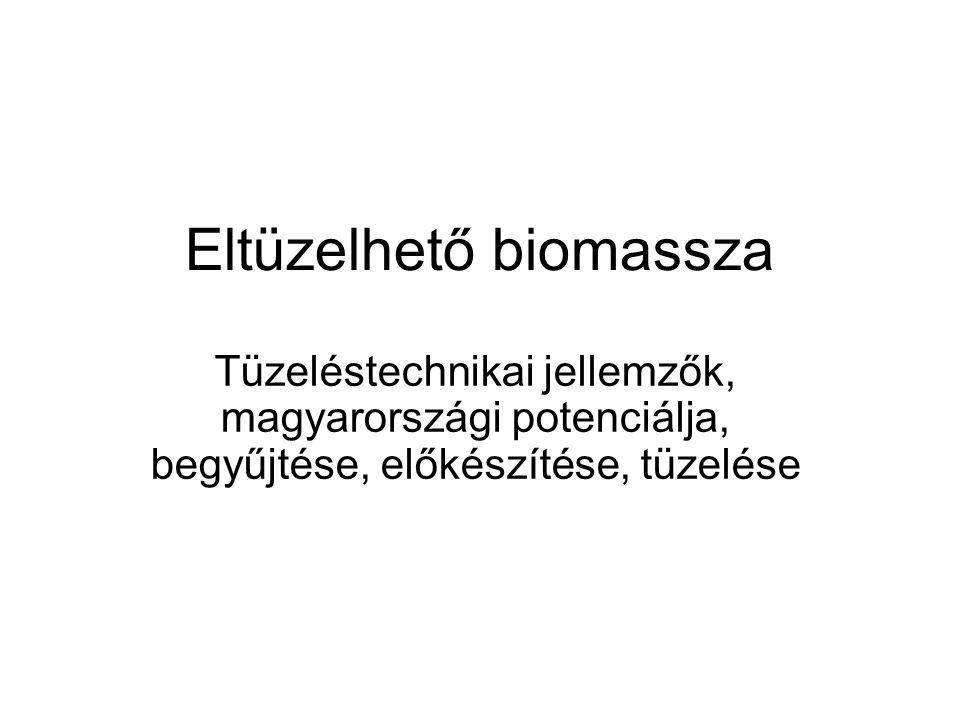 Eltüzelhető biomassza Tüzeléstechnikai jellemzők, magyarországi potenciálja, begyűjtése, előkészítése, tüzelése