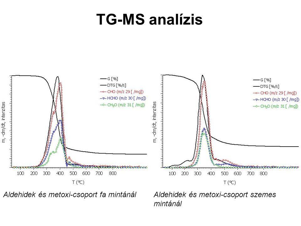 TG-MS analízis Aldehidek és metoxi-csoport fa mintánál Aldehidek és metoxi-csoport szemes mintánál