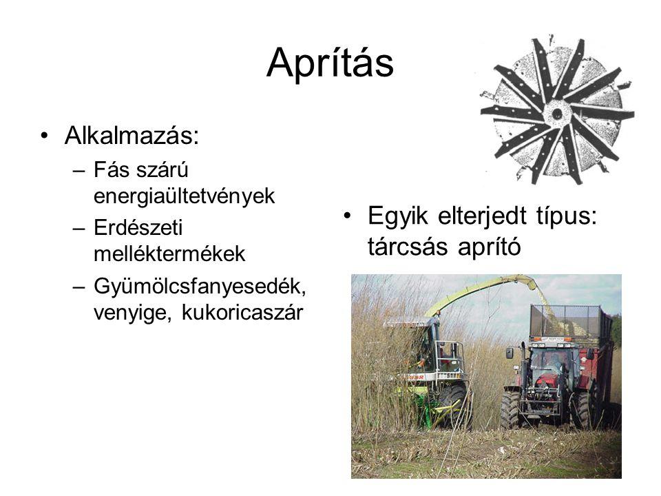Aprítás Alkalmazás: –Fás szárú energiaültetvények –Erdészeti melléktermékek –Gyümölcsfanyesedék, venyige, kukoricaszár Egyik elterjedt típus: tárcsás