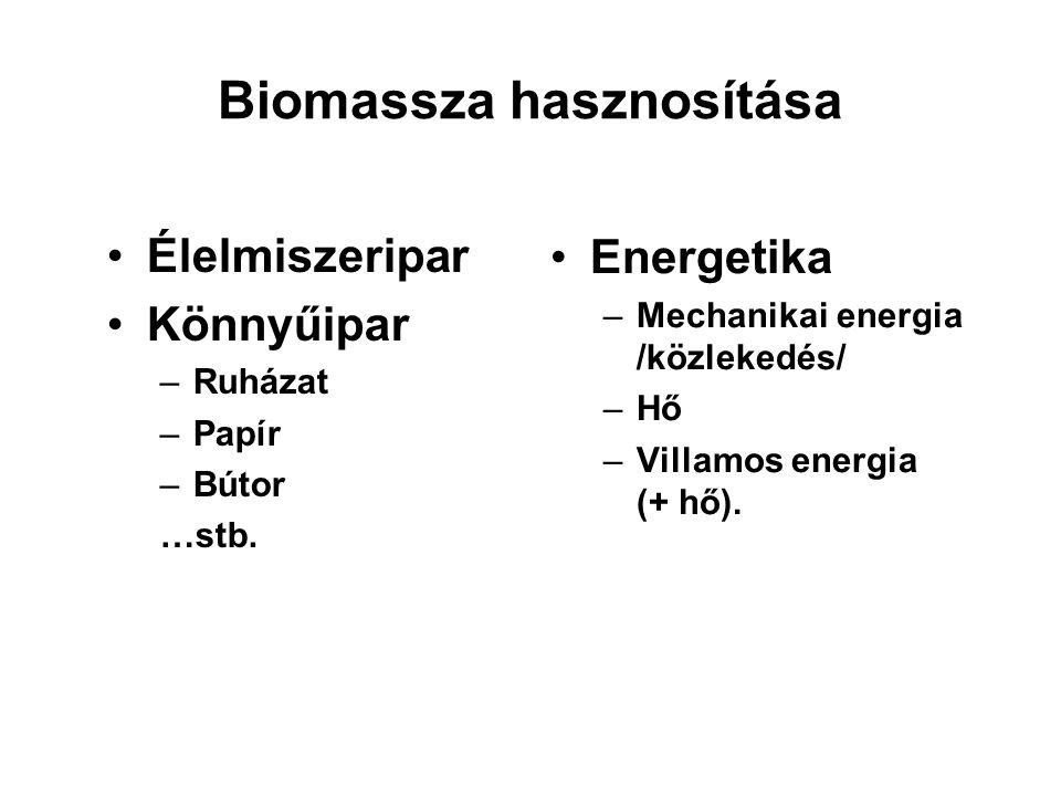 Biomassza hasznosítása Élelmiszeripar Könnyűipar –Ruházat –Papír –Bútor …stb. Energetika –Mechanikai energia /közlekedés/ –Hő –Villamos energia (+ hő)