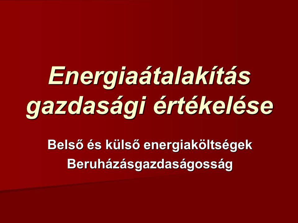 Energiaátalakítás gazdasági értékelése Belső és külső energiaköltségek Beruházásgazdaságosság