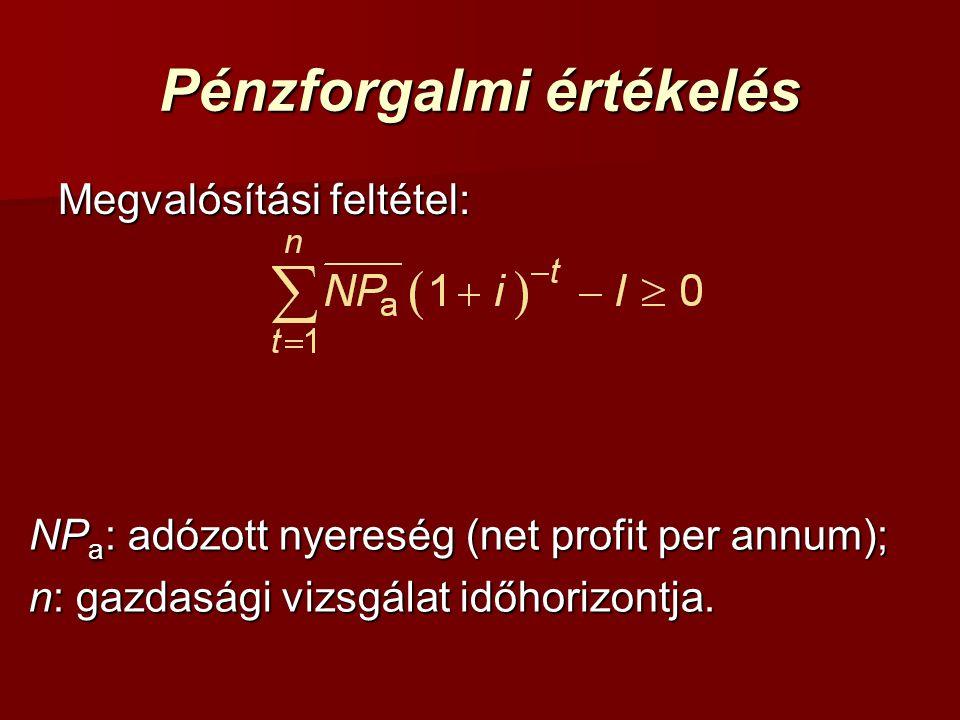 Pénzforgalmi értékelés Megvalósítási feltétel: NP a : adózott nyereség (net profit per annum); n: gazdasági vizsgálat időhorizontja.