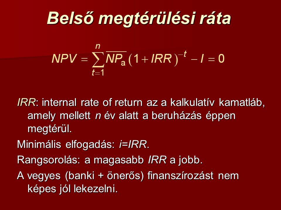 Belső megtérülési ráta IRR: internal rate of return az a kalkulatív kamatláb, amely mellett n év alatt a beruházás éppen megtérül. Minimális elfogadás