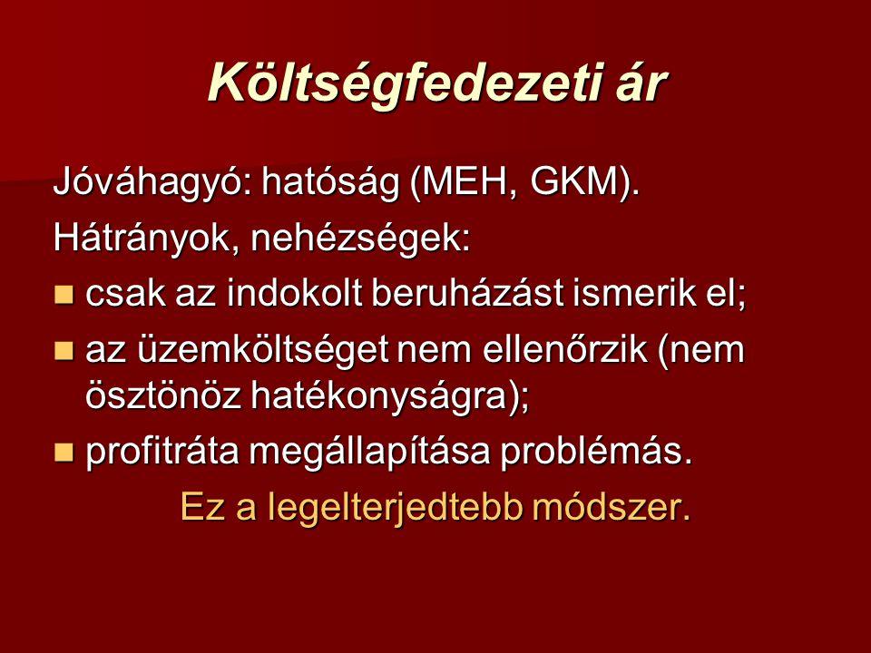 Költségfedezeti ár Jóváhagyó: hatóság (MEH, GKM).