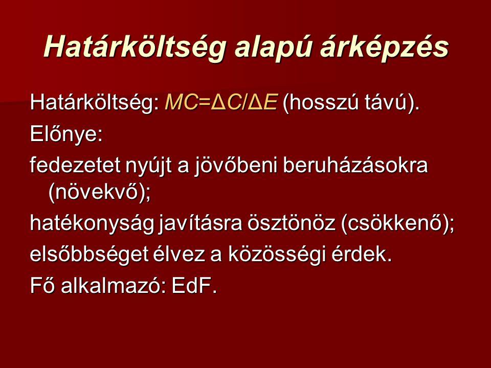 Határköltség alapú árképzés Határköltség: MC=ΔC/ΔE (hosszú távú).
