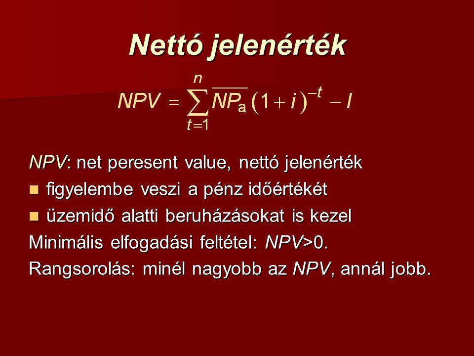 Nettó jelenérték NPV: net peresent value, nettó jelenérték figyelembe veszi a pénz időértékét figyelembe veszi a pénz időértékét üzemidő alatti beruházásokat is kezel üzemidő alatti beruházásokat is kezel Minimális elfogadási feltétel: NPV>0.