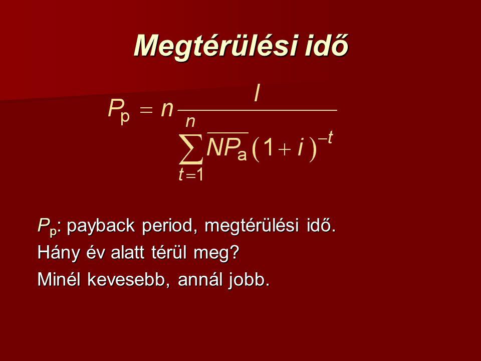Megtérülési idő P p : payback period, megtérülési idő.