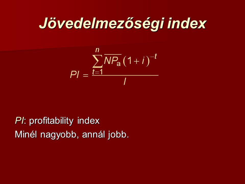 Jövedelmezőségi index PI: profitability index Minél nagyobb, annál jobb.