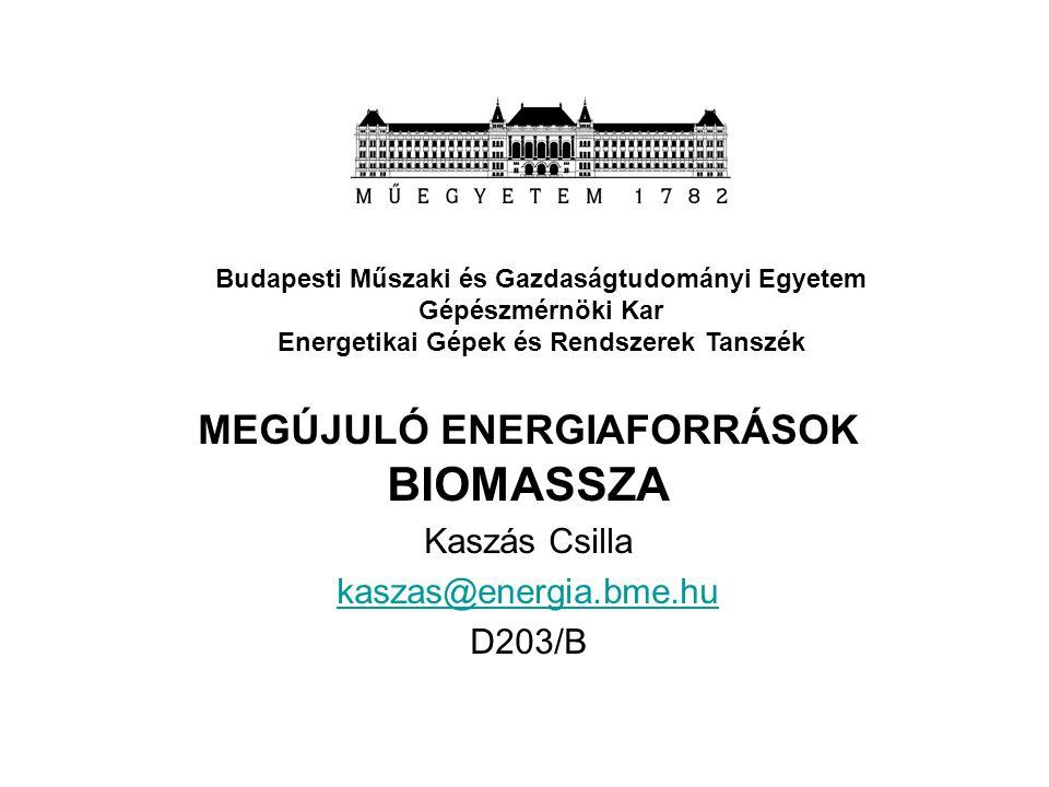 MEGÚJULÓ ENERGIAFORRÁSOK BIOMASSZA Kaszás Csilla kaszas@energia.bme.hu D203/B Budapesti Műszaki és Gazdaságtudományi Egyetem Gépészmérnöki Kar Energet