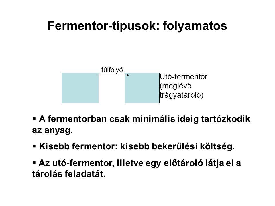 Fermentor-típusok: folyamatos Utó-fermentor (meglévő trágyatároló)   A fermentorban csak minimális ideig tartózkodik az anyag.  Kisebb fermentor: k