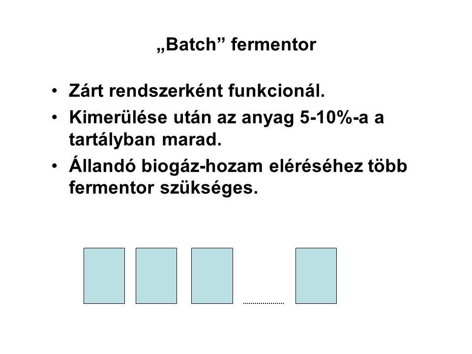 """""""Batch"""" fermentor Zárt rendszerként funkcionál. Kimerülése után az anyag 5-10%-a a tartályban marad. Állandó biogáz-hozam eléréséhez több fermentor sz"""