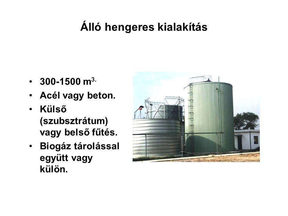 Álló hengeres kialakítás 300-1500 m 3. Acél vagy beton. Külső (szubsztrátum) vagy belső fűtés. Biogáz tárolással együtt vagy külön.