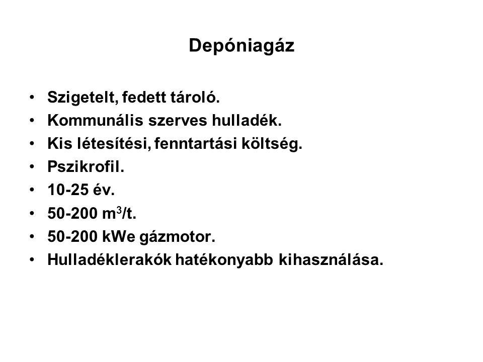 Depóniagáz Szigetelt, fedett tároló. Kommunális szerves hulladék. Kis létesítési, fenntartási költség. Pszikrofil. 10-25 év. 50-200 m 3 /t. 50-200 kWe