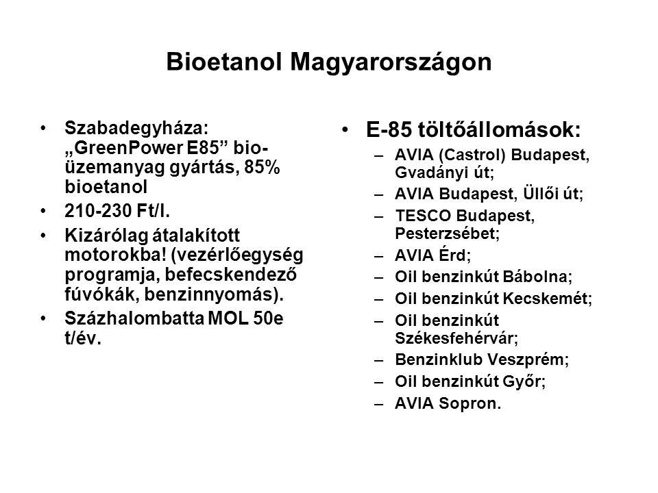 """Bioetanol Magyarországon Szabadegyháza: """"GreenPower E85"""" bio- üzemanyag gyártás, 85% bioetanol 210-230 Ft/l. Kizárólag átalakított motorokba! (vezérlő"""