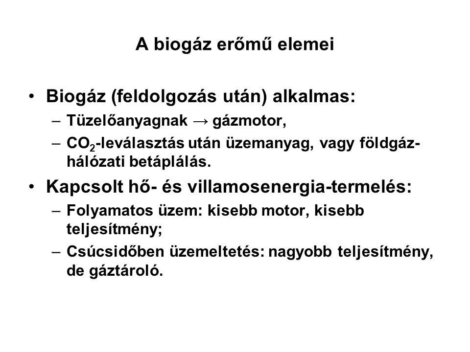 A biogáz erőmű elemei Biogáz (feldolgozás után) alkalmas: –Tüzelőanyagnak → gázmotor, –CO 2 -leválasztás után üzemanyag, vagy földgáz- hálózati betápl