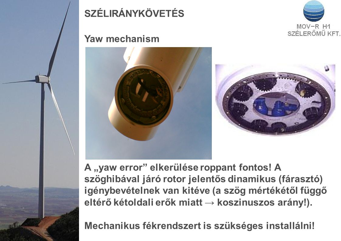 """SZÉLIRÁNYKÖVETÉS Yaw mechanism A """"yaw error elkerülése roppant fontos."""