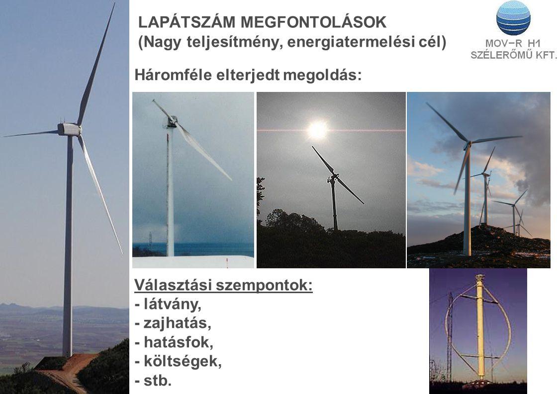LAPÁTSZÁM MEGFONTOLÁSOK (Nagy teljesítmény, energiatermelési cél) Háromféle elterjedt megoldás: Választási szempontok: - látvány, - zajhatás, - hatásfok, - költségek, - stb.