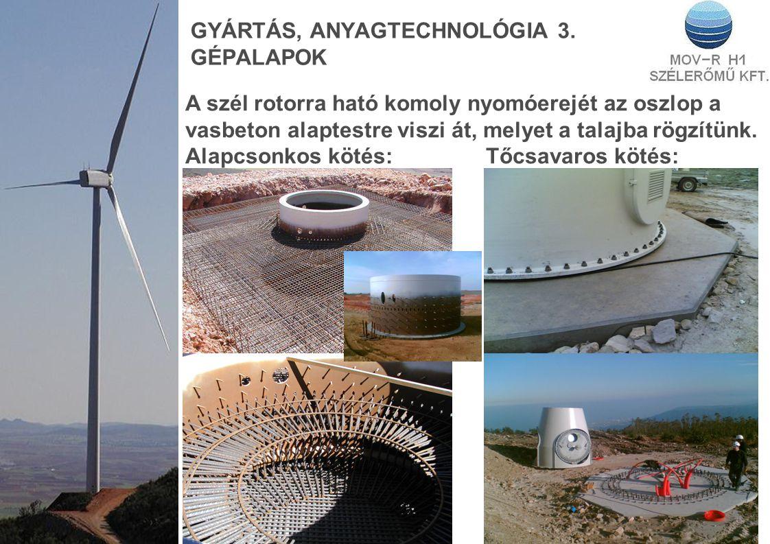GYÁRTÁS, ANYAGTECHNOLÓGIA 3. GÉPALAPOK A szél rotorra ható komoly nyomóerejét az oszlop a vasbeton alaptestre viszi át, melyet a talajba rögzítünk. Al