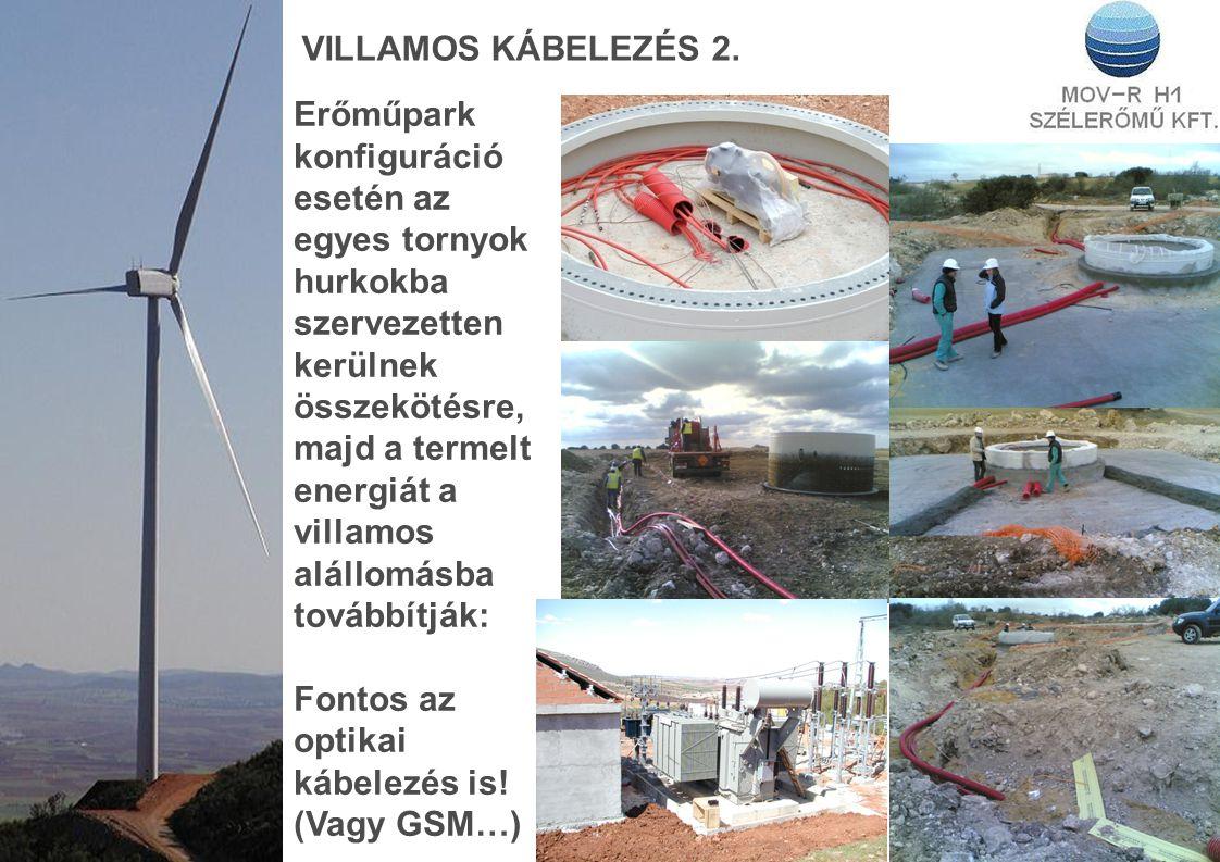 VILLAMOS KÁBELEZÉS 2. Erőműpark konfiguráció esetén az egyes tornyok hurkokba szervezetten kerülnek összekötésre, majd a termelt energiát a villamos a