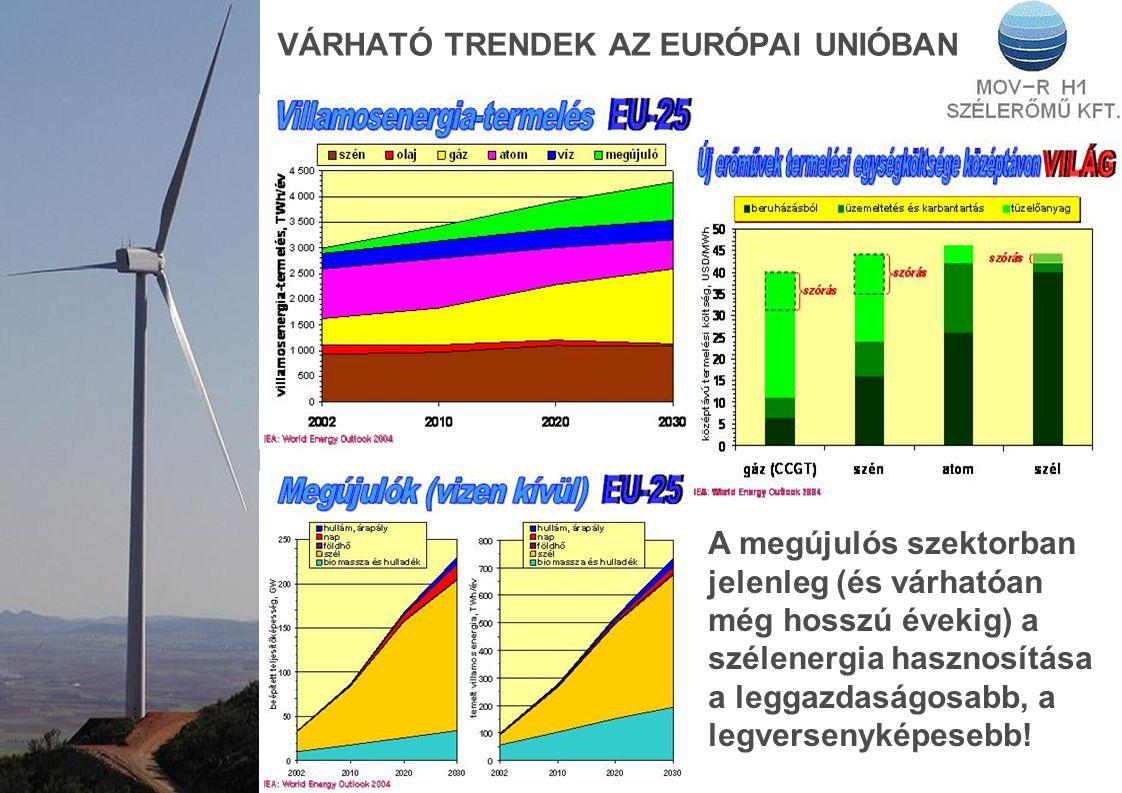 VÁRHATÓ TRENDEK AZ EURÓPAI UNIÓBAN A megújulós szektorban jelenleg (és várhatóan még hosszú évekig) a szélenergia hasznosítása a leggazdaságosabb, a l