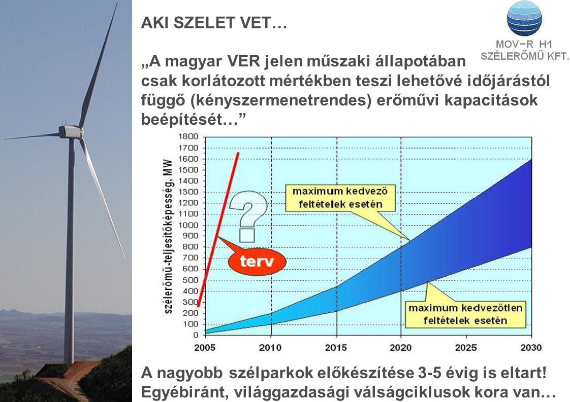 """AKI SZELET VET… """"A magyar VER jelen műszaki állapotában csak korlátozott mértékben teszi lehetővé időjárástól függő (kényszermenetrendes) erőművi kapacitások beépítését… A nagyobb szélparkok előkészítése 3-5 évig is eltart."""