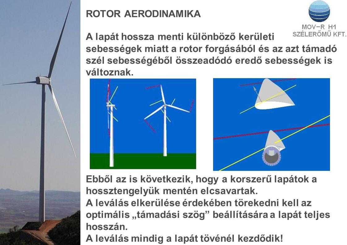 ROTOR AERODINAMIKA A lapát hossza menti különböző kerületi sebességek miatt a rotor forgásából és az azt támadó szél sebességéből összeadódó eredő seb
