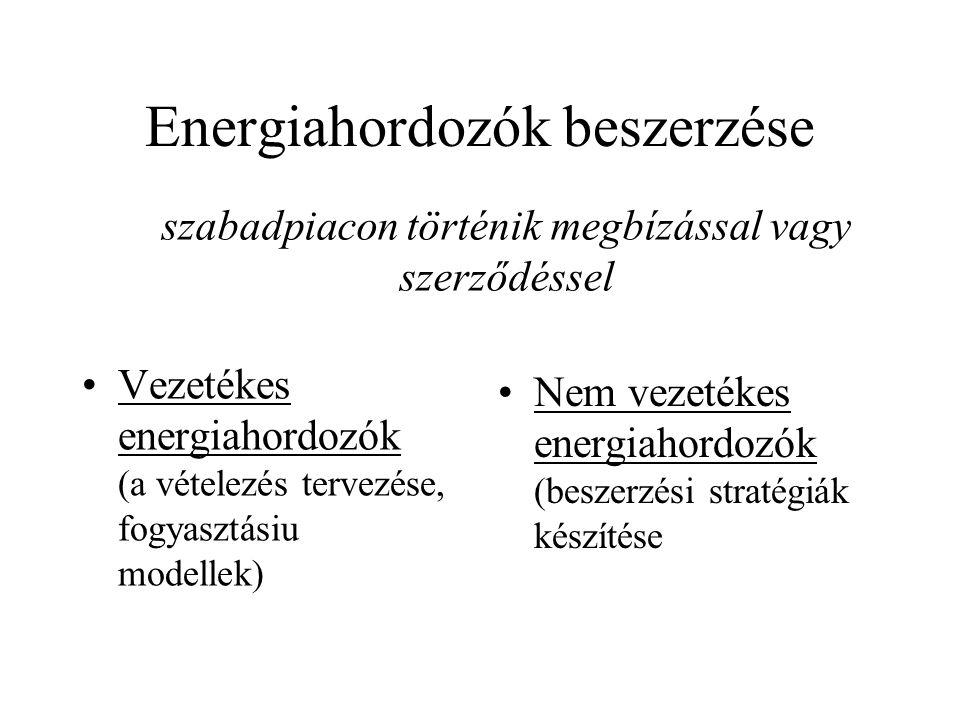 Energiahordozók beszerzése Vezetékes energiahordozók (a vételezés tervezése, fogyasztásiu modellek) Nem vezetékes energiahordozók (beszerzési stratégiák készítése szabadpiacon történik megbízással vagy szerződéssel