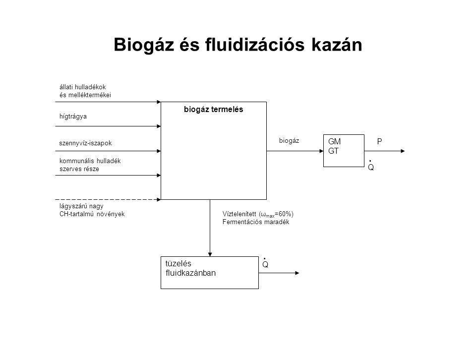 Biogáz és fluidizációs kazán lágyszárú nagy CH-tartalmú növények kommunális hulladék szerves része állati hulladékok és melléktermékei biogáz termelés hígtrágya szennyvíz-iszapok biogáz GM GT P Q.