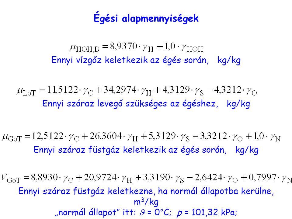 """Égési alapmennyiségek Ennyi vízgőz keletkezik az égés során, kg/kg Ennyi száraz levegő szükséges az égéshez, kg/kg Ennyi száraz füstgáz keletkezik az égés során, kg/kg Ennyi száraz füstgáz keletkezne, ha normál állapotba kerülne, m 3 /kg """"normál állapot itt: = 0°C; p = 101,32 kPa;"""