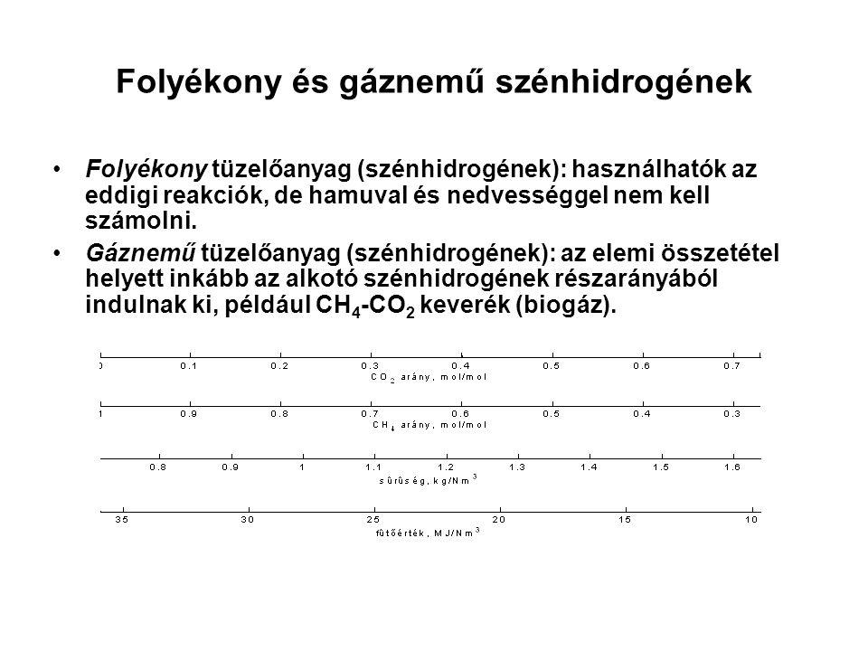 Folyékony és gáznemű szénhidrogének Folyékony tüzelőanyag (szénhidrogének): használhatók az eddigi reakciók, de hamuval és nedvességgel nem kell számo