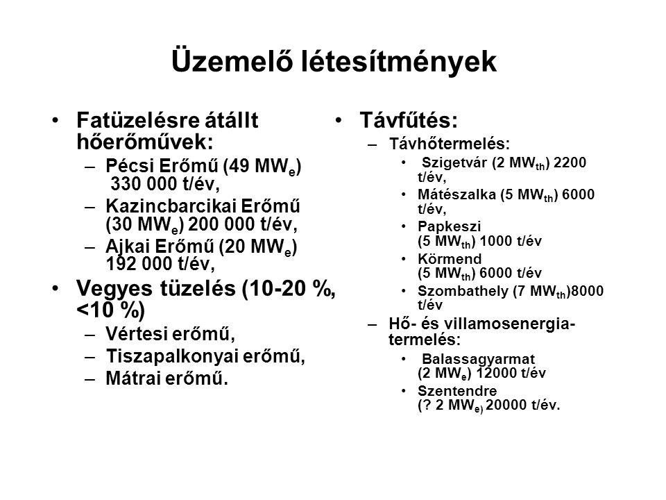 Üzemelő létesítmények Fatüzelésre átállt hőerőművek: –Pécsi Erőmű (49 MW e ) 330 000 t/év, –Kazincbarcikai Erőmű (30 MW e ) 200 000 t/év, –Ajkai Erőmű