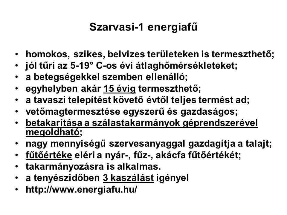 Szarvasi-1 energiafű homokos, szikes, belvizes területeken is termeszthető; jól tűri az 5-19° C-os évi átlaghőmérsékleteket; a betegségekkel szemben e