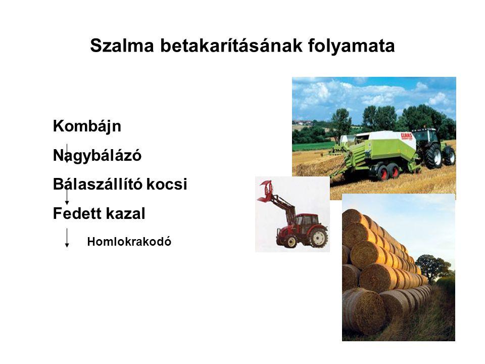 Szalma betakarításának folyamata Kombájn Nagybálázó Bálaszállító kocsi Fedett kazal Homlokrakodó