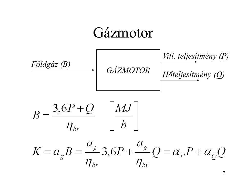 7 Gázmotor GÁZMOTOR Földgáz (B) Vill. teljesítmény (P) Hőteljesítmény (Q)