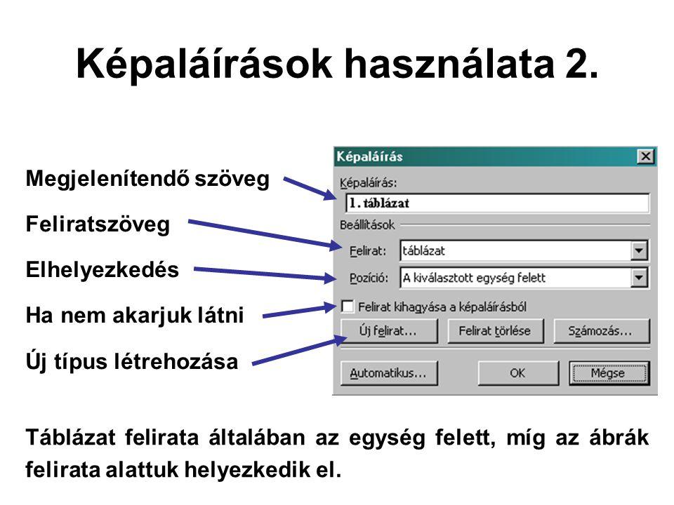 Megjelenítendő szöveg Feliratszöveg Elhelyezkedés Ha nem akarjuk látni Új típus létrehozása Képaláírások használata 2. Táblázat felirata általában az