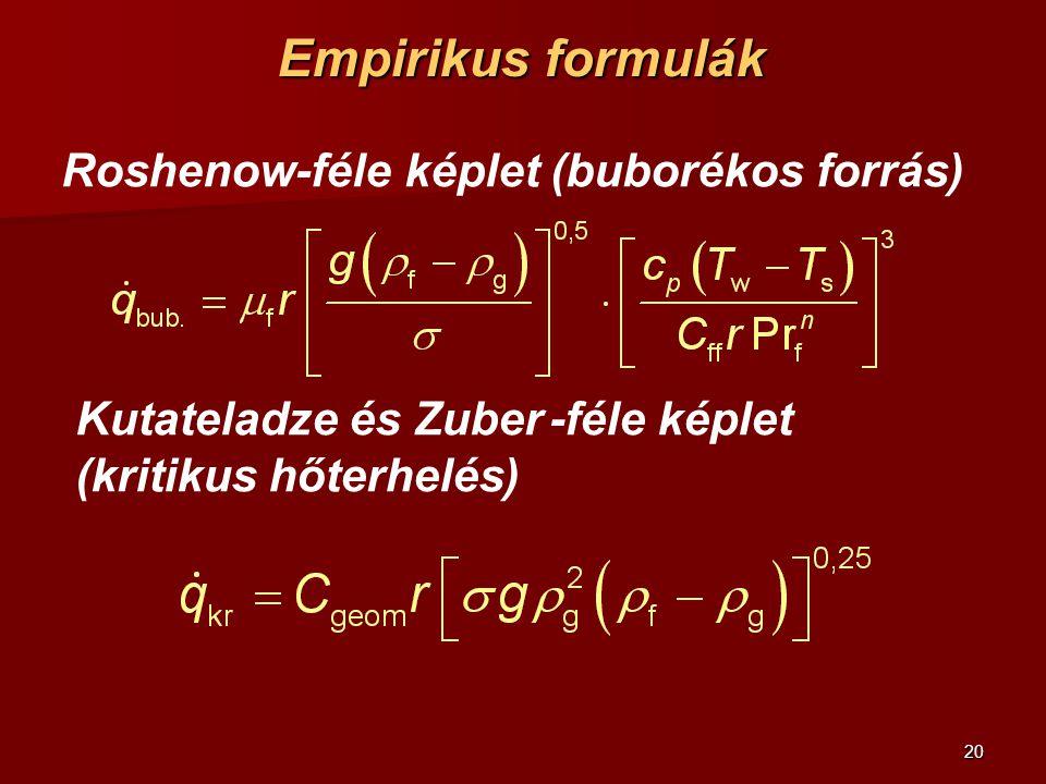 20 Empirikus formulák Roshenow-féle képlet (buborékos forrás) Kutateladze és Zuber -féle képlet (kritikus hőterhelés)
