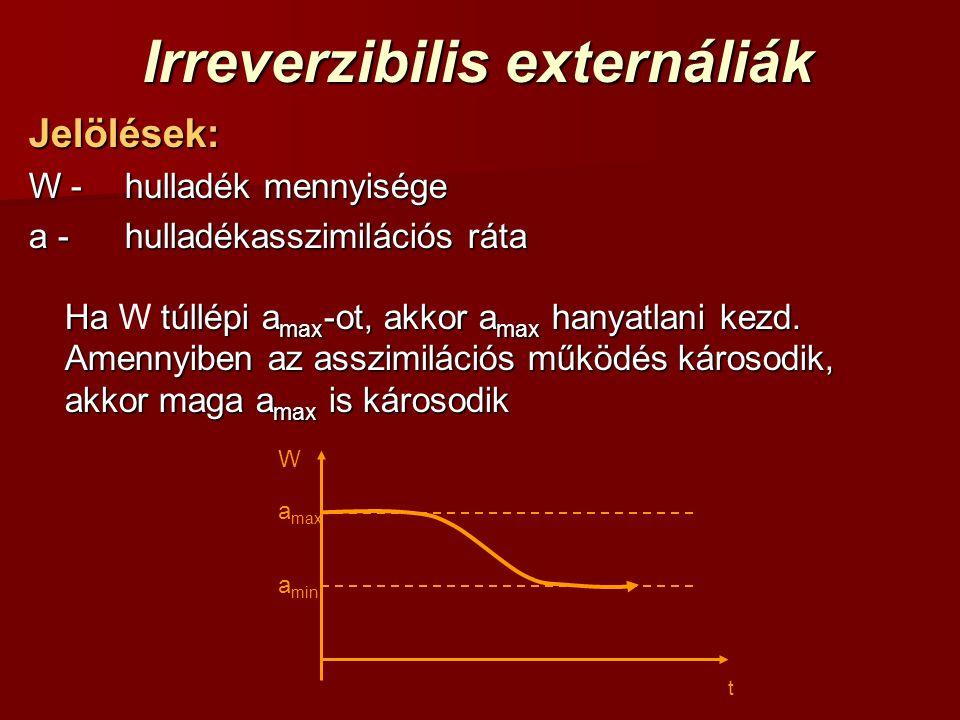t a max a min W Irreverzibilis externáliák Jelölések: W -hulladék mennyisége a -hulladékasszimilációs ráta Ha túllépi a max -ot, akkor a max hanyatlan