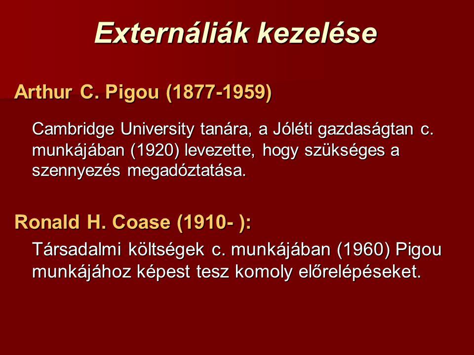 Externáliák kezelése Arthur C. Pigou (1877-1959) Cambridge University tanára, a Jóléti gazdaságtan c. munkájában (1920) levezette, hogy szükséges a sz