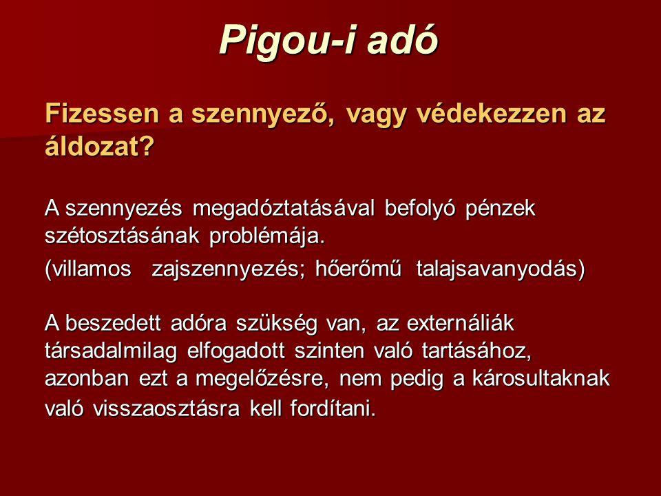 Pigou-i adó Fizessen a szennyező, vagy védekezzen az áldozat? A szennyezés megadóztatásával befolyó pénzek szétosztásának problémája. (villamoszajszen
