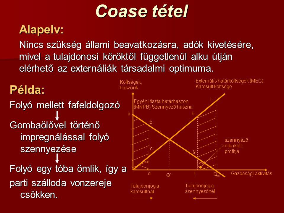 Coase tétel Alapelv: Nincs szükség állami beavatkozásra, adók kivetésére, mivel a tulajdonosi köröktől függetlenül alku útján elérhető az externáliák