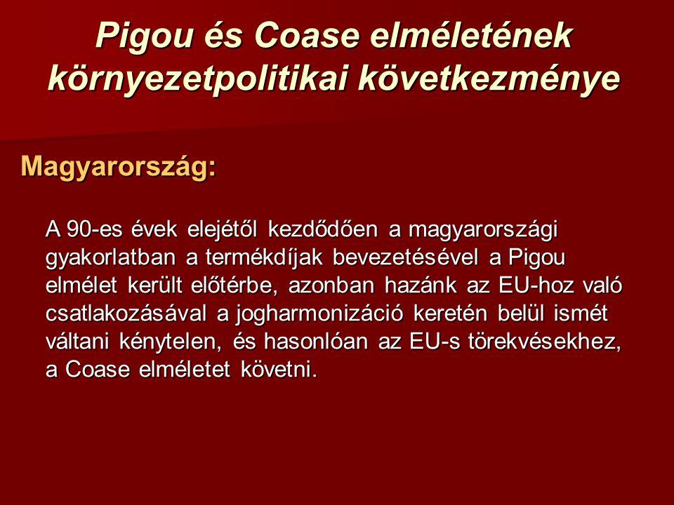 Pigou és Coase elméletének környezetpolitikai következménye Magyarország: A 90-es évek elejétől kezdődően a magyarországi gyakorlatban a termékdíjak b