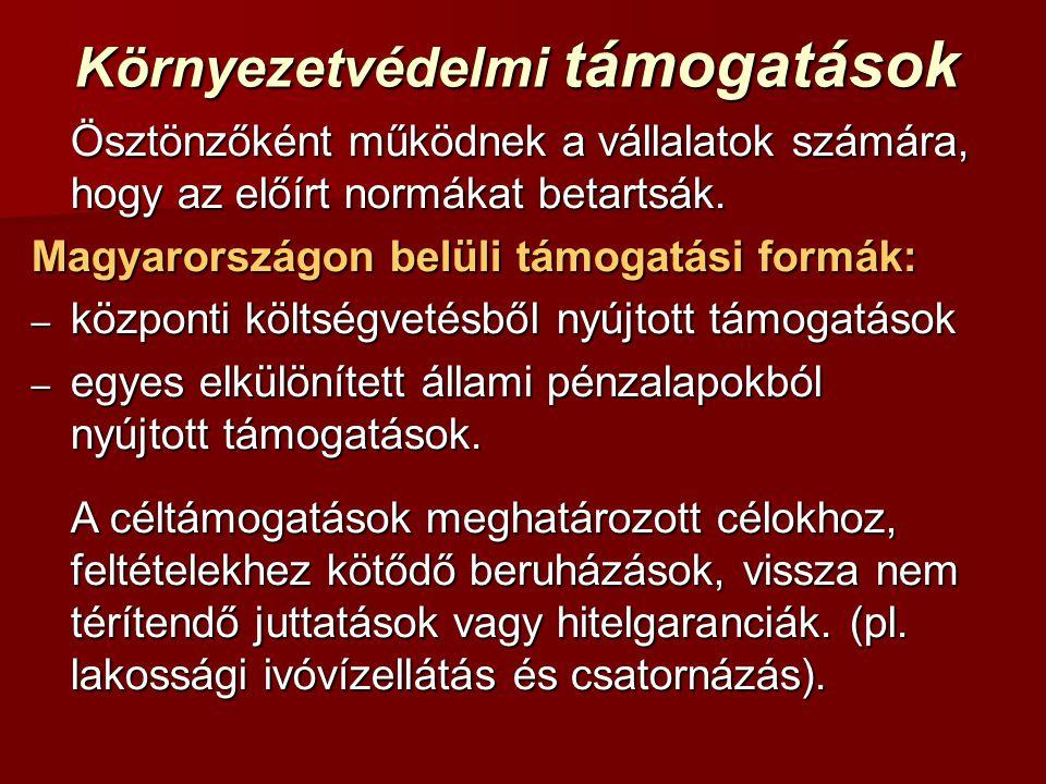 Környezetvédelmi támogatások Ösztönzőként működnek a vállalatok számára, hogy az előírt normákat betartsák. Magyarországon belüli támogatási formák: –
