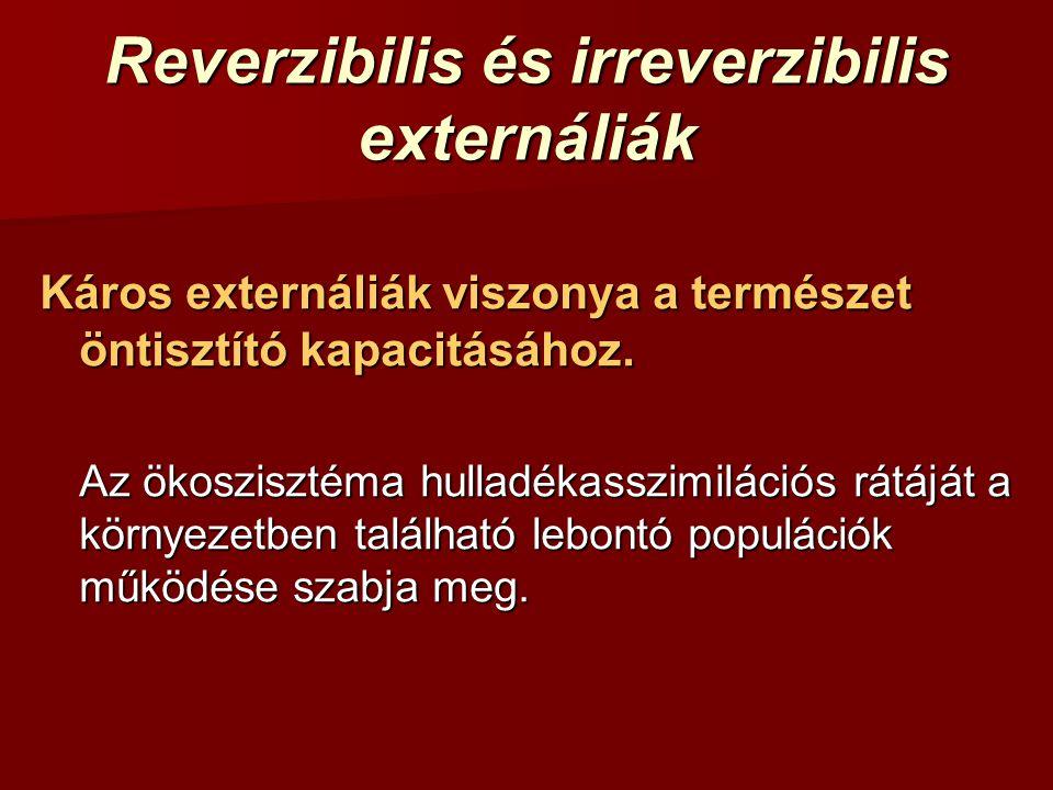 Reverzibilis és irreverzibilis externáliák Káros externáliák viszonya a természet öntisztító kapacitásához. Az ökoszisztéma hulladékasszimilációs rátá