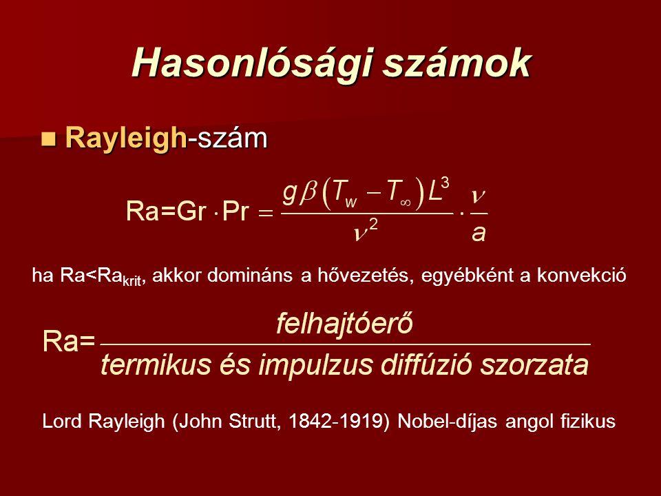 Hasonlósági számok Rayleigh-szám Rayleigh-szám ha Ra<Ra krit, akkor domináns a hővezetés, egyébként a konvekció Lord Rayleigh (John Strutt, 1842-1919)