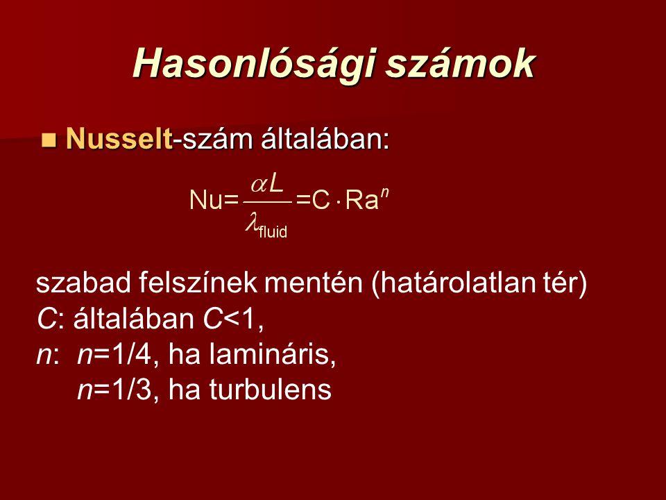 Hasonlósági számok Nusselt-szám általában: Nusselt-szám általában: szabad felszínek mentén (határolatlan tér) C: általában C<1, n: n=1/4, ha lamináris